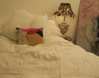 Antique White Linen Duvet Cover - Duvet Cover - King Duvet Cover - Custom Bedding - Duvet Cover King