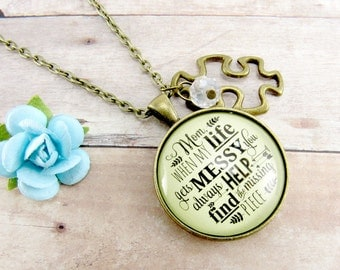 Mother Jewelry 'Mom, When My Life Gets Messy You Always Help Find the Missing Piece' Thank You Gift for Mom Necklace