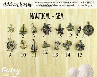 Nautical and Sea Themed Charms You Can Add to Your Gutsy Goodness Pendant Necklace or Keychain, Antique Bronze