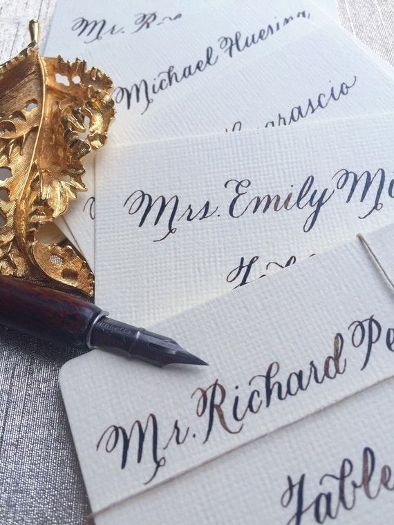 The Rustic Script | Wedding Place Cards | Escort Cards with Calligraphy | Wedding Place Card Calligraphy | Escort Card Calligraphy