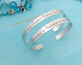 Sterling Silver Cuff Bracelet - Personalized Bracelet - Silver Bracelet - Name Bracelet - Name Bracelet Cuff - Hand Stamped - Kid names cuff