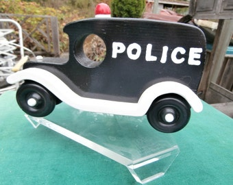 Police car, paddy wagon, Wooden classic car, push  pull , Black and white ,imagination toy, wood van