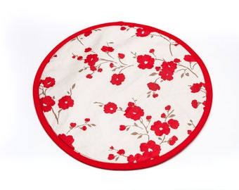 Chef's pads, with hanging loops, in red poppy design