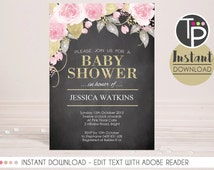 HIGH TEA Baby Shower Invitation, Instant Download Baby Shower Invitation, Floral Chalkboard invitation, Edit yourself with Adobe Reader