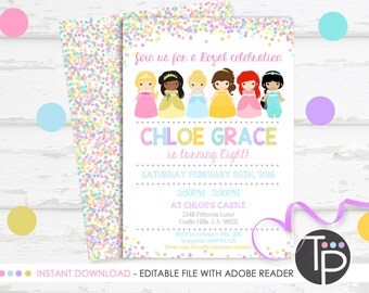 PRINCESS INVITATION, Instant Download, Princess Party Invitation, Princess Printable, Princess Birthday Invitation, Princess party, editable