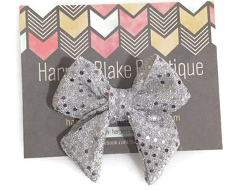Silver Metallic Sequin Tailed Fabric Bow