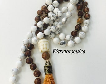 Howlite and Tibetan Dzi natural beads