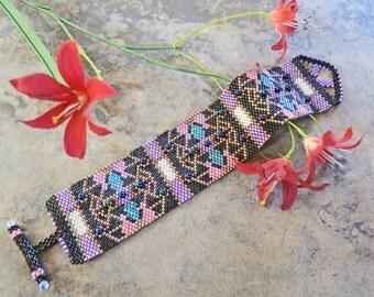 Seed Bead Bracelet, Beaded Bracelet, Colorful Bracelet, Mosaic Bracelet, Beaded Cuff Bracelet, Wide Beaded Bracelet, Black, Pink, Blue, OOAK