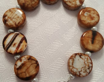 Brown & White Stone Bracelet - White Glass Pearls - Pearls - Stone - Stone Bracelet - Women's Brown Bracelet - Women's Stone Bracelet -Pearl