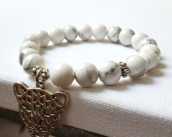 10 mm Howlite stone beads with  Leopard head  Charms, Beadwork, White Bracelet, Free shipping