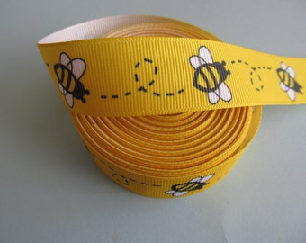 "Grosgrain Bumble Bee Yellow Bug Ribbon 7/8"" 22 mm"