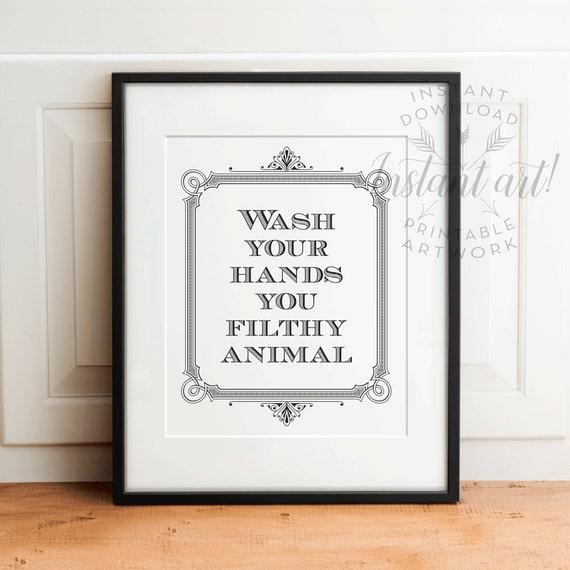 Wash Your Hands Printable Art Bathroom Printable Art