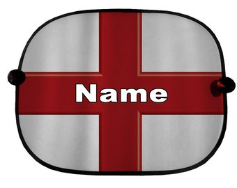 Personalised Pair Of St Georges Flag Design Car Sun Shades Bus Van Vehicle