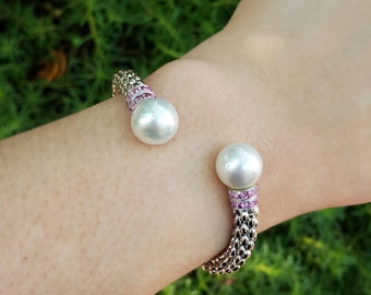 Pearls and Sapphires Cuff, in Silver, South Sea Pearls Bracelet, Fish Scale Cuff, Boho Chic, Gift for Her, Beach Jewelry, Pearl Jewelry