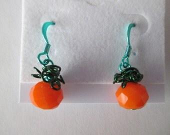Cute Pumpkin Wire Wrapped Earrings