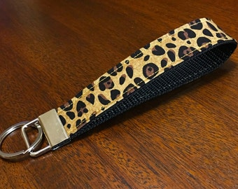 Key Fob Wristlet - Cheetah on Black