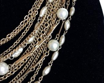 Vintage Kramer of New York Multi Strand gold tone Necklace