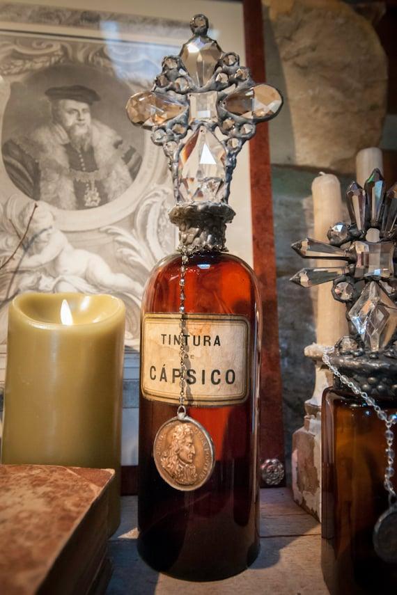 Handmade Glass Cross Bottle with a Brown Glass 1800's Pharmacy Bottle Base