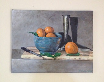 Original acrylic painting, still life painting, oranges in a bowl, 14x18 inch stretched canvas