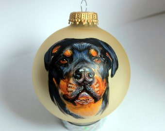 Hand painted Christmas Glass ornament rottweiler Dog