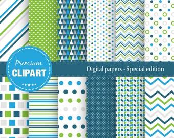 Baby boy digital papers, Baby shower pattern, Geometric patterns, Scrapbooking digital paper, Geometric papers - SE-117