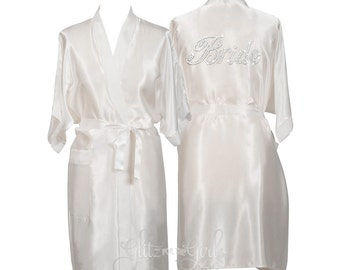 Bride Robe, Personalised Bride Dressing Gown, Wedding Robe, Satin Bride Robe, Wedding Gift, Personalized Bride Robe, Fancy Scripted Robe