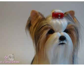 Felt dog/ Needle felted Animal /Biewer/Yorkie/Yorkie art/Custom Pet Portrait/Miniature/ Personalized Pet/Wool sculpture/Memorial