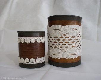 Vintage wood canisters with vintage lace.