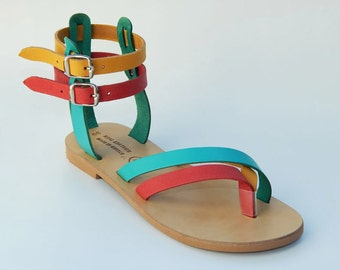 Greek Leather Sandals (36, 38 - Tricolor)