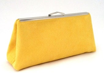 Gorgeous Yellow Suede Handbag Clutch ~ Yellow Travel Purse ~ Yellow Clutch