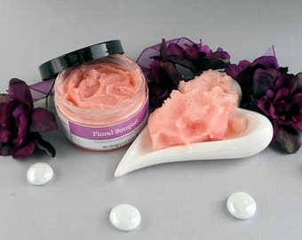 Floral Bouquet Scented Emulsified Sugar Scrub, Floral Body Polish, Vegan Moisturizing Exfoliating Sugar Scrub