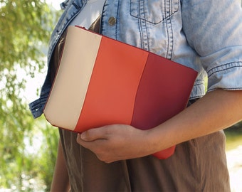 Gift for her Red clutch wallet Vegan leather clutch bag Boho clutch purse Wristlet wallet Vegan purse Everyday clutch Evening bag Vegan bag