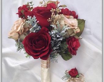 Burgandy bouquet, roses, ivory ribbon, rhinestones, bride bouquet.