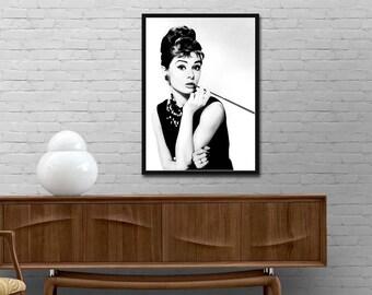 Audrey Hepburn art poster Audrey Hepburn photo print Breakfast at Tiffany's Modern design print Minimalist style wall decor Best price art