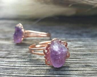 Amethyst adjustable rose gold plated filigree ring