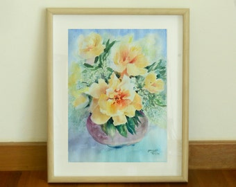 Yellow Flowers in the Purple Vase, Watercolor Original painting on Arches Paper (Title: Bright up Your Day)