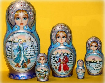 Russian doll Matryoshka Winter Christmas handmade