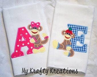 Custom Sock Monkey Burp Cloth