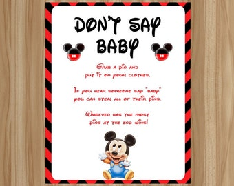 mickey mouse baby shower mickey mouse don t say baby don t say baby