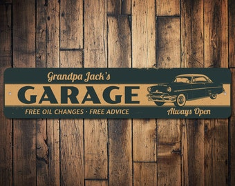 Grandpa Classic Car Garage Sign, Personalized Shop Owner Name Gift, Free Oil Changes & Advice Always Open Sign - Quality Aluminum ENS1002355