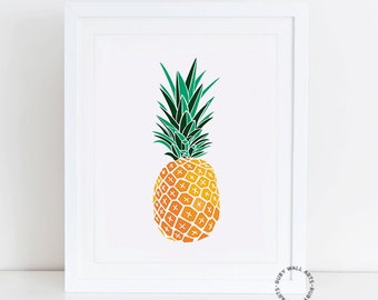 Pineapple Print, Art Deco, Pop Art, Retro, Fruit, Wall Art, Poster, Modern Minimalist, Home Decor, Digital Art, Printable, Kitchen Decor