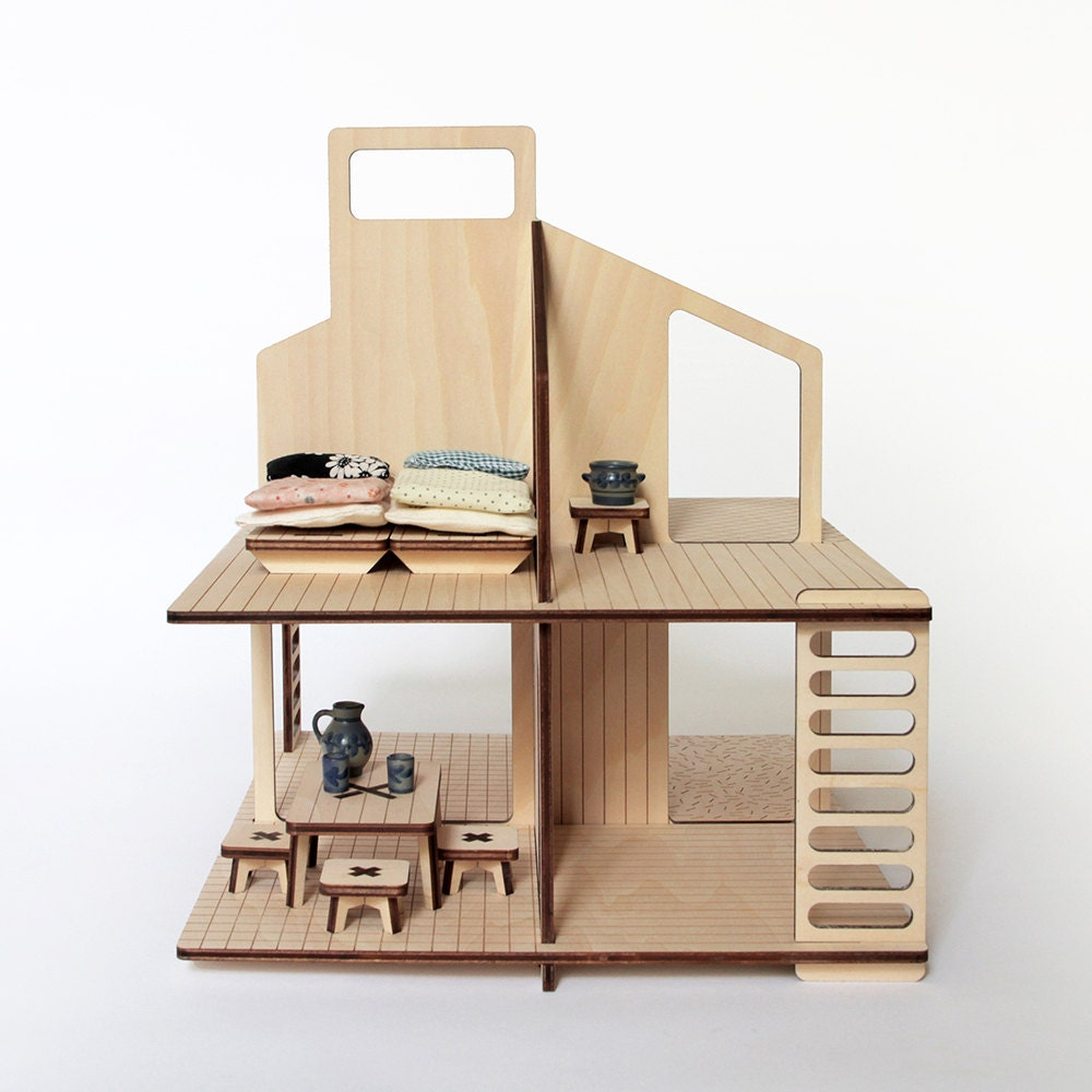 Wooden Doll 39 S House And Its Furniture
