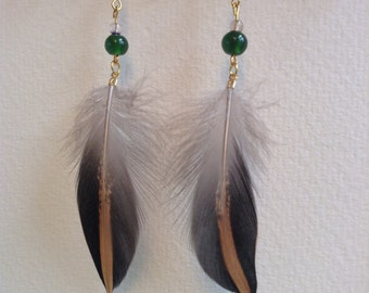 Cruelty Free Feather Earrings - Red Shoveler Feathers, Green Glass Beads, Gold Plated