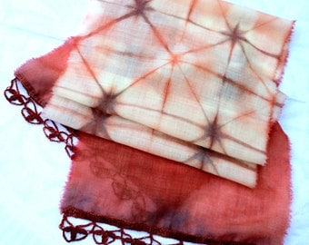 Naturally Dyed Fine Wool Gauze Scarf with Hand Crocheted Trim Madder Red