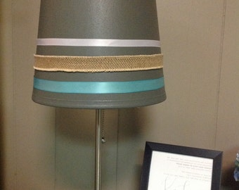 Colored striped lamp shade. (Can be done in any custom colors)