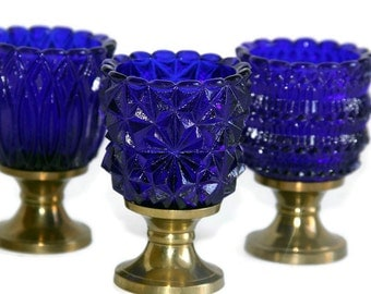 FAROY Brass & Cobalt Glass Votive Candle Holders, Set of 3, Retro Home Decor, Housewarming Gift, Gift for her, Blue Glass Candle Holders,