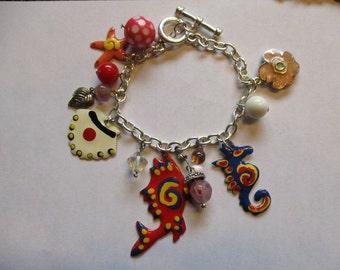 Bright Seahorse Sea Shell Enameled Charm Bracelet