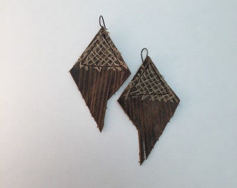 Recyled leather fringe earrings