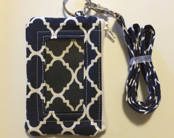 Hand Made Lanyard With ID Wallet in Navy Blue Moroccan Print With Extra Zipper