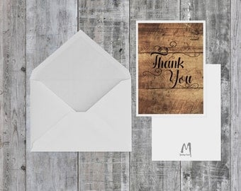 Rustic Thank You Card, BLANK INSIDE, thank you, rustic card, rustic, wooden design, card for her, card for him, specialty card